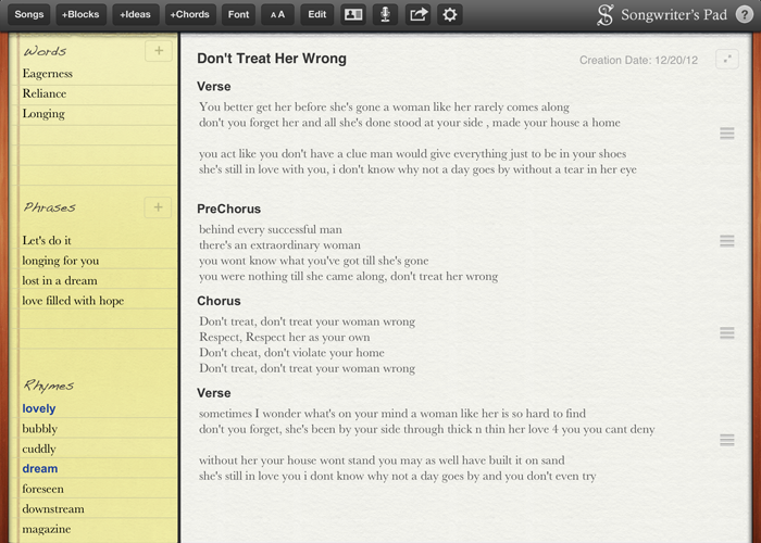 songwriters pad